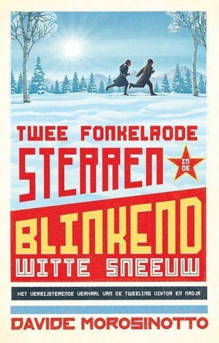 Twee fonkelrode sterren in de blinkend witte sneeuw