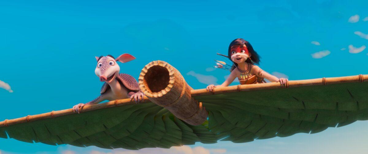 AINBO and Dillo vliegend over het regenwoud