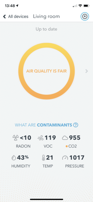 screenshot airthings wave plus openingsscherm